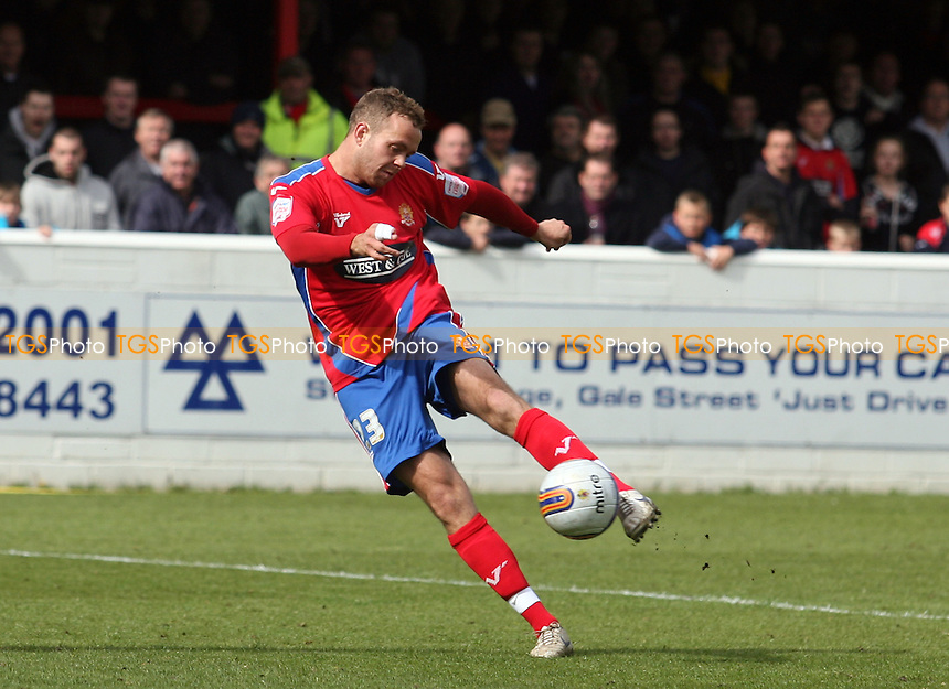 Brian Woodall of Dagenham and Redbridge scores the second goal -  Dagenham vs Bristol Rovers at the London Borough of Barking and Dagenham Stadium - 05/05/12 - MANDATORY CREDIT: Dave Simpson/TGSPHOTO - Self billing applies where appropriate - 0845 094 6026 - contact@tgsphoto.co.uk - NO UNPAID USE.