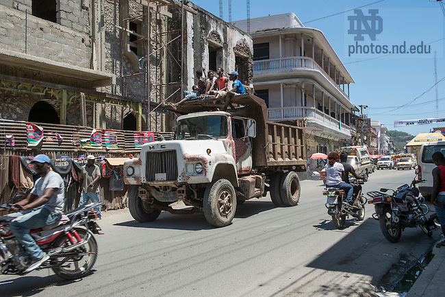 Aug. 10, 2015; A busy street in downtown Cap-Haitien, Haiti. (Photo by Barbara Johnston/University of Notre Dame)