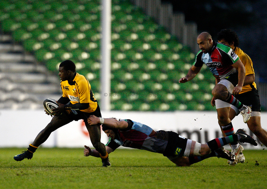 Photo: Richard Lane/Richard Lane Photography. Harlequins A v London Wasps A. Guinness A League. 19/04/2010. Wasps' Christian Wade attacks.