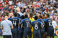 Team of France celebrate the victory with their head coach Didier Deschamps during the World Cup Final match between France and Croatia at Luzhniki Stadium on July 15, 2018 in Moscow, Russia. (Photo by Anthony Dibon/Icon Sport)