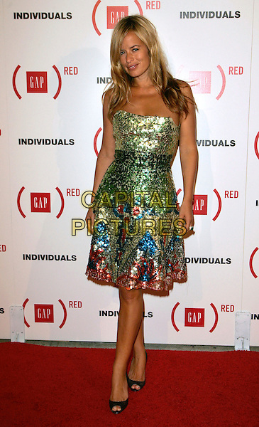 "JADE JAGGER.Celebration for the Launch of ""Individuals"" - A Collection of Iconic Gap Portraits at Eyebeam hosted by The Gap, New York, NY, USA..September 12th, 2006.Ref: ADM/JL.full length green sequins sequined strapless dress peep toe blue pink.www.capitalpictures.com.sales@capitalpictures.com.©Jackson Lee/AdMedia/Capital Pictures."