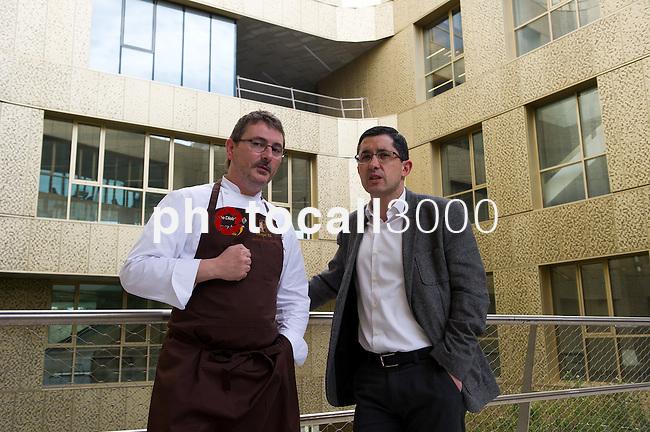 Master Class de Andoni Luis Aduriz en el Basque Culinay Center. Andoni Luis Aduriz (I) Joxe Maria Aizega (D)