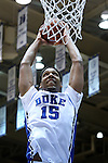 26 November 2014: Duke's Jahlil Okafor dunks the ball. The Duke University Blue Devils hosted the Furman University Paladins at Cameron Indoor Stadium in Durham, North Carolina in a 2014-16 NCAA Men's Basketball Division I game. Duke won the game 93-54.