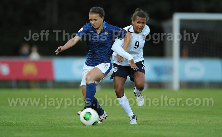 Aurele Gagnet of France battles with Nikita Parris of England during the UEFA Womens U19 Championships at Stebonheath Park, Llanelli  Monday 19th August 2013. All images are the copyright of Jeff Thomas Photography-www.jaypics.photoshelter.com-07837 386244-Any use of images must be authorised by the copyright owner.