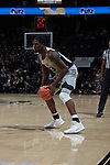 Chaundee Brown (23) of the Wake Forest Demon Deacons during first half action against the Virginia Tech Hokies at the LJVM Coliseum on January 10, 2018 in Winston-Salem, North Carolina.  The Hokies defeated the Demon Deacons 83-75.  (Brian Westerholt/Sports On Film)
