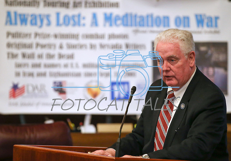 Nevada Assembly Speaker John Hambrick, R-Las Vegas, speaks at the opening ceremony of the Always Lost: A Meditation on War exhibit at the Legislative Building in Carson City, Nev., on Monday, April 6, 2015. <br />