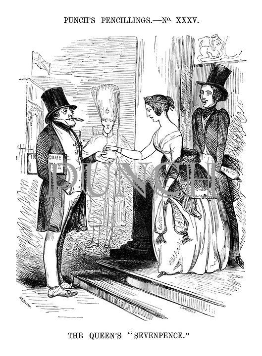 """The Queen's """"Sevenpence."""" (a young Queen Victoria hands over some money in income tax from a purse of £60,000 to Prime Minister Robert Peel as a shocked Prince Albert takes out money from his purse of £38,000)"""