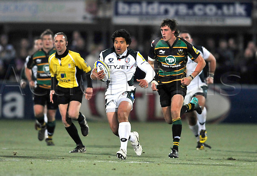 26.11.10. Elvis Sevealii of London Irish in action. Aviva Premiership Rugby Round 9 Northampton Saints vs London Irish at Franklins Gardens, Northampton, England
