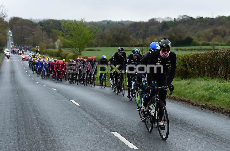 Picture by Alex Broadway/SWpix.com - 29/04/2016 - Cycling - 2016 Tour de Yorkshire, Stage 1: Beverley to Settle - Yorkshire, England - Bernhard Eisel of Team Dimension Data on the front of the peloton.
