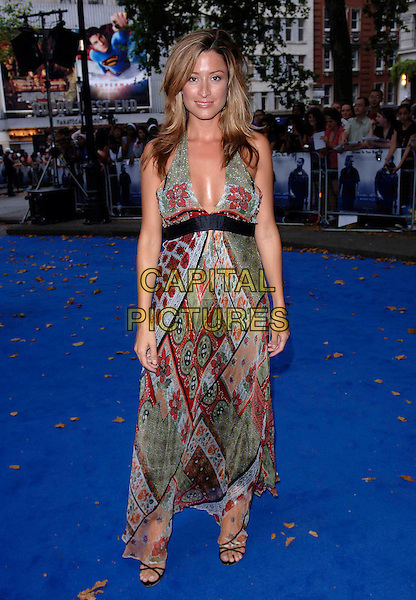 "REBECCA LOOS.European film premiere""Miami Vice"".Odeon cinema Leicester Square.27th July 2006 in London, England.Ref: FIN.full length green pattern plunging neckline dress.www.capitalpictures.com.sales@capitalpictures.com.©Steve Finn/Capital Pictures."