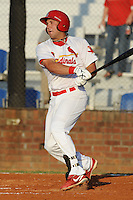 Johnson City Cardinals designated hitter David Bergin #30 swings at a pitch during a game against the Greeneville Astros at Howard Johnson Field on July 13, 2011 in Johnson City, Tennessee.  Greenville won the game 7-4.   (Tony Farlow/Four Seam Images)