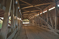 Light streak through the interior of the Cox Ford Covered Bridge on Sugar Creek in Parke County, Indiana