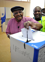 "Archbishop Desmond Tutu cast his vote in the 2009 general election at a polling station in Milnerton. Tutu said he was only voting after ""a lot of heart-searching"" having previously stated that he would not cast his ballot."