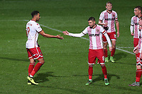 Kyle Wootton of Stevenage scores the second goal for his team and celebrates during Stevenage vs Brighton & Hove Albion Under-21, Checkatrade Trophy Football at the Lamex Stadium on 7th November 2017