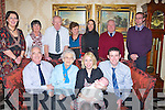 BAPTISED: Kelly Flaherty Kilmoyley after her christening  in Kilmoyley Church, on Sunday with her parents Una and DJ Flaherty Kilmoyley, in Ballyroe Heights Hotel, Tralee also with Kelly and parents were  godparents,Gran and Greatgran parents. Front l-r: Pa and Teresa Lynch, Una,Kelly and DJ Flaherty.Back l-r:Siobhan McElligott,Elizabeth Flaherty