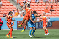 Houston, TX - Saturday May 13, Houston Dash midfielder Amber Brooks (12), Sky Blue FC midfielder Raquel Rodriguez (11) during a regular season National Women's Soccer League (NWSL) match between the Houston Dash and Sky Blue FC at BBVA Compass Stadium. Sky Blue won the game 3-1.