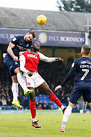 New signing Toumani Diagouraga of Fleetwood Town and John White of Southend United contest the header during the Sky Bet League 1 match between Southend United and Fleetwood Town at Roots Hall, Southend, England on 13 January 2018. Photo by Carlton Myrie.