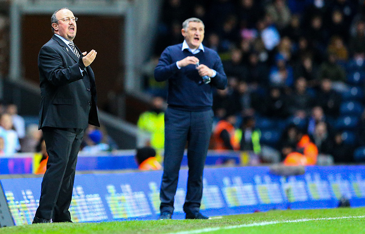 Newcastle United manager Rafa Benítez shouts instructions to his team from the technical area<br /> <br /> Photographer Alex Dodd/CameraSport<br /> <br /> Emirates FA Cup Third Round Replay - Blackburn Rovers v Newcastle United - Tuesday 15th January 2019 - Ewood Park - Blackburn<br />  <br /> World Copyright © 2019 CameraSport. All rights reserved. 43 Linden Ave. Countesthorpe. Leicester. England. LE8 5PG - Tel: +44 (0) 116 277 4147 - admin@camerasport.com - www.camerasport.com