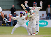 June 11th 2017, Trafalgar Road Ground, Southport, England; Specsavers County Championship Division One; Day Three; Lancashire versus Middlesex; Sam Robson of Middlesex survives a confident appeal for lbw from Liam Livingstone and Alex Davies of Lancashire