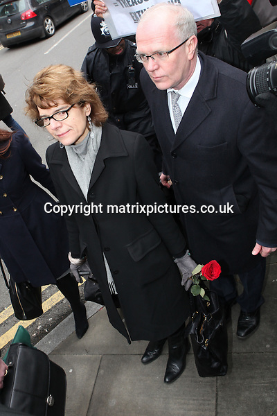 NON EXCLUSIVE PICTURE: MATRIXPICTURES.CO.UK.PLEASE CREDIT ALL USES..WORLD RIGHTS..Vicky Pryce, the ex-wife of disgraced former Liberal Democrat cabinet minister Chris Huhne, is pictured arriving at a London court, prior to being sentenced for perverting the course of justice. ..Pryce is likely to face jail, after being convicted of taking Huhne's speeding points for him, following an incident on the M11 motorway in 2003...MARCH 11th 2013..REF: WTX 131619