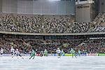 Stockholm 2014-01-10 Bandy Elitserien Hammarby IF - Sandvikens AIK :  <br />  Vy &ouml;ver bandyplanen i Tele2 Arena under matchen Hammarby mot Sandviken och mot norra kurvan av l&auml;ktaren d&auml;r &ouml;vre etage &auml;r tomt <br /> (Foto: Kenta J&ouml;nsson) Nyckelord:  supporter fans publik supporters inomhus interi&ouml;r interior