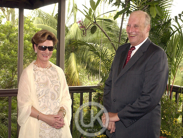 King Harald and Queen Sonja of Norway, State Visit to Singapore..King harlad, and Queen Sonja attend a Press Meeting at the Botanical Gardens.