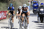 The breakaway Alexandre Geniez (FRA) AG2R La Mondiale and teammate Nico Denz (GER) and Diego Rosa (ITA) Team Sky on sector 3 Radi during Strade Bianche 2019 running 184km from Siena to Siena, held over the white gravel roads of Tuscany, Italy. 9th March 2019.<br /> Picture: Eoin Clarke | Cyclefile<br /> <br /> <br /> All photos usage must carry mandatory copyright credit (&copy; Cyclefile | Eoin Clarke)