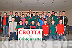 Crotta Coiste Na Og Medal Presentation : Members of the Crotta U/14 hurlers who won the County Kerry Feile  being presented with their medals by All Ireland Clare hurler Brendan Bugler at St Senan's Clubhouse, Mountcoal  on Saturday night last.