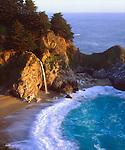 USA, California, Julia Pfeiffer Burns State Park.  A waterfall along the coast.