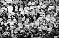 Oakland Alameda County Coliseum at the Raider Dallas Cowboy game..Dec 7, 1980...fans holding save our Raiders signs..(photo by Ron Riesterer)