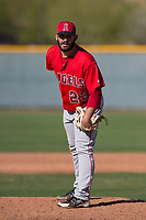 Los Angeles Angels relief pitcher Gregory Belton (23) during a Minor League Spring Training game against the Chicago Cubs at Sloan Park on March 20, 2018 in Mesa, Arizona. (Zachary Lucy/Four Seam Images)