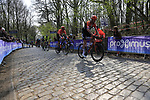 Lars Boom (NED) Roompot-Charles on the the first ascent of the Kemmelberg during the 2019 Gent-Wevelgem in Flanders Fields running 252km from Deinze to Wevelgem, Belgium. 31st March 2019.<br /> Picture: Eoin Clarke | Cyclefile<br /> <br /> All photos usage must carry mandatory copyright credit (© Cyclefile | Eoin Clarke)