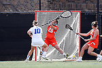 DURHAM, NC - FEBRUARY 16: Duke's Kyra Harney (10) scores a goal past Campbell's Kylie Haarhoff (28). The Duke University Blue Devils hosted the Campbell University Camels on February 16, 2018, at Koskinen Stadium in Durham, NC in women's college lacrosse match. Duke won the game 18-8.