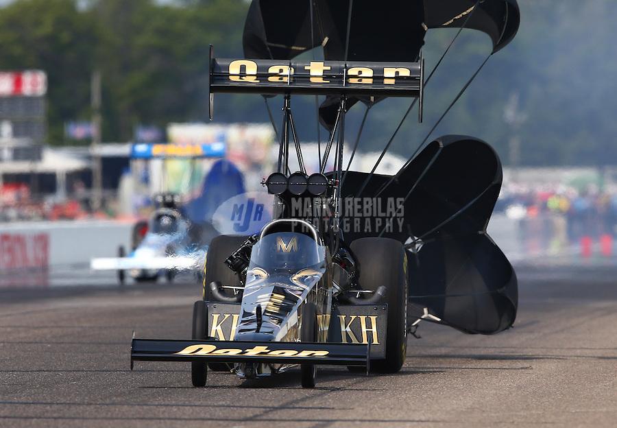 Aug. 18, 2013; Brainerd, MN, USA: NHRA top fuel dragster driver Khalid Albalooshi during the Lucas Oil Nationals at Brainerd International Raceway. Mandatory Credit: Mark J. Rebilas-