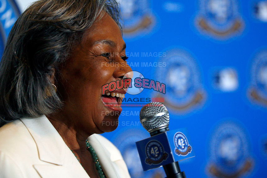 "Rachel Robinson at the announcement of ""Jackie Robinson Day"", which will be celebrated at every Major League Baseball game to be played on April 15th of every MLB season, at Dodger Stadium on April 15, 2007 in Los Angeles, California. (Larry Goren/Four Seam Images)"