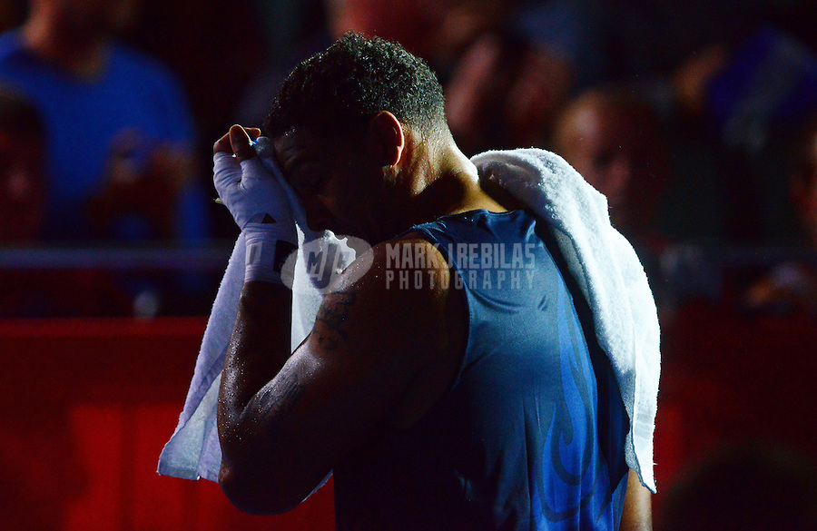 Aug 1, 2012; London, United Kingdom; USA boxer Dominic Breazeale leaves the ring after losing to Russia boxer Magomed Omarov (not pictured) during a men's super heavy (+91kg) bout at the London 2012 Olympic Games at ExCeL - South Arena 2. Mandatory Credit: Mark J. Rebilas-USA TODAY Sports.