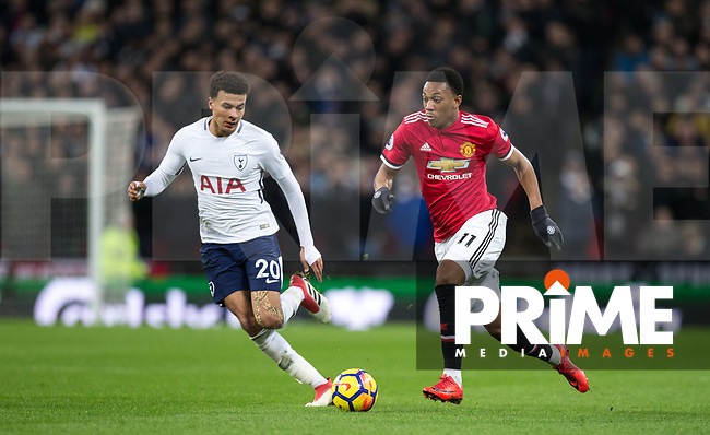 Anthony Martial of Man Utd & Dele Alli of Spurs during the Premier League match between Tottenham Hotspur and Manchester United at Wembley Stadium, London, England on 31 January 2018. Photo by Andy Rowland.