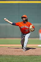 Buies Creek Astros relief pitcher Ralph Garza (26) delivers a pitch to the plate against the Winston-Salem Dash at BB&T Ballpark on April 16, 2017 in Winston-Salem, North Carolina.  The Dash defeated the Astros 6-2.  (Brian Westerholt/Four Seam Images)