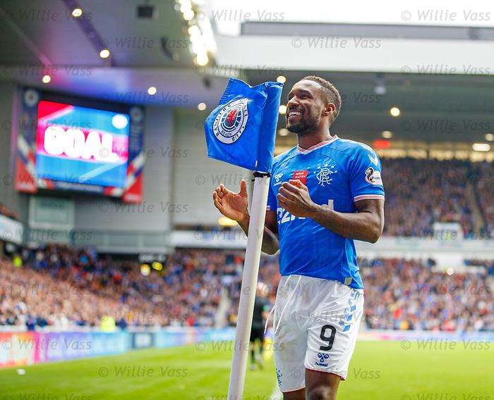 06.10.2019 Rangers v Hamilton: Jermain Defoe celebrates after scoring the opening goal