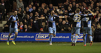 Paul Hayes of Wycombe celebrates his goal during the Sky Bet League 2 match between Luton Town and Wycombe Wanderers at Kenilworth Road, Luton, England on 26 December 2015. Photo by Liam Smith.