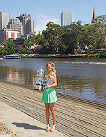 VICTORIA AZARENKA with the Women's Singles Trophy..29/01/2012, 29th January 2012, 29.01.2012 - Day 14..The Australian Open, Melbourne Park, Melbourne,Victoria, Australia.@AMN IMAGES, Frey, Advantage Media Network, 30, Cleveland Street, London, W1T 4JD .Tel - +44 208 947 0100..email - mfrey@advantagemedianet.com..www.amnimages.photoshelter.com.