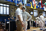 12 February 2017: UNC's Diana Philpot with coach Will Randolph during Saber. The Duke University Blue Devils hosted the University of North Carolina Tar Heels at Card Gym in Durham, North Carolina in a 2017 College Women's Fencing match. Duke won the dual match 14-13 overall and 7-2 in Epee. UNC won Foil 6-3 and Saber 5-4.