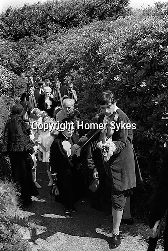 The John Knill ceremony,  Worvas Hill, St Ives, Cornwall. England 1971. Procession to the memorial.