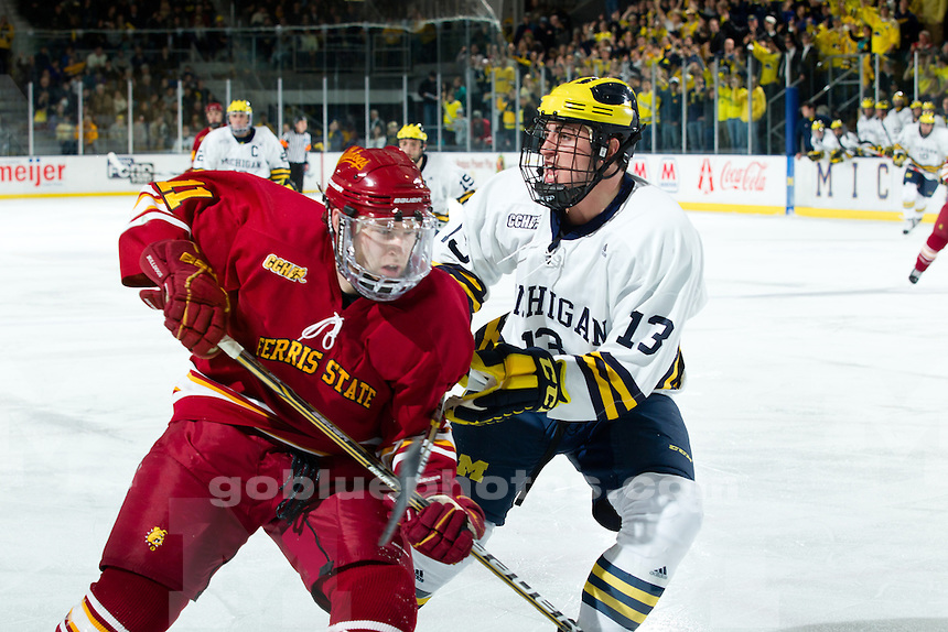 University of Michigan men's ice hockey 3-2 victory over Ferris State at Yost Ice Arena in Ann Arbor, MI, on January 14, 2011.
