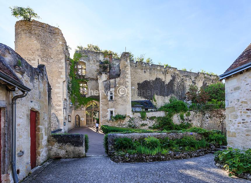Indre-et-Loire (37), Montr&eacute;sor, class&eacute; Les Plus Beaux Villages de France, entr&eacute;e sous les ruines du premier ch&acirc;teau formant l'enceinte du ch&acirc;teau Renaissance // Indre et Loire, Montresor, labelled Les Plus Beaux Villages de France (The Most beautiful<br /> Villages of France),  the ruins of the first castle forming the walls of the Renaissance castle