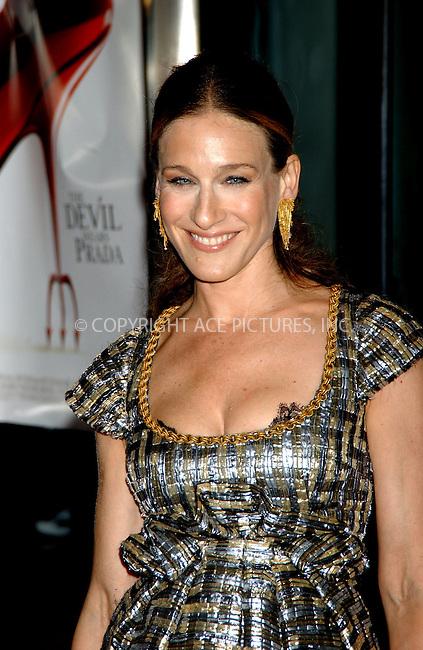 WWW.ACEPIXS.COM . . . . . ....June 19, 2006, New York City. ....Sarah Jessica Parker attends 'The Devil Wears Prada' Premiere. ....Please byline: KRISTIN CALLAHAN - ACEPIXS.COM.. . . . . . ..Ace Pictures, Inc:  ..(212) 243-8787 or (646) 769 0430..e-mail: info@acepixs.com..web: http://www.acepixs.com