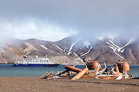"The ""Sea Spirit"" anchors in Whalers Bay at Deception Island in the South Shetland Islands near the Antarctic Peninsula."