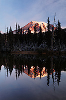 Mount Rainier reflected in Reflection Lakes, Mount Rainier National Park, Washington, USA