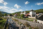 Landscape, creek and church at the Monastery Mileševa, Serbia originally built in the 12th century.