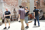 Fritz Brekeller, Brian Flood (audio), Austin Peltier (Assistant Cameraman) & Gianluca Randazzo (Director of Photography) -  Empire The Series films on set June 3, 2012  in Brooklyn, New York. (Photo by Sue Coflin/Max Photos)